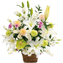 Large sympathy arrangement in white with some pastel colors
