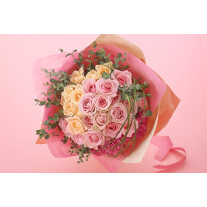 Elegant hand-tied bouquet mainly with roses